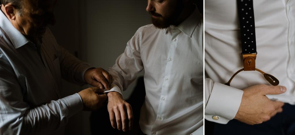 mariage Moinardière Vendée préparatifs du marié boutons manchette bretelles chemise