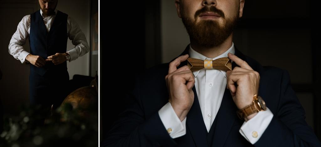 mariage Moinardière Vendée getting ready groom gilet noeud papillon montre