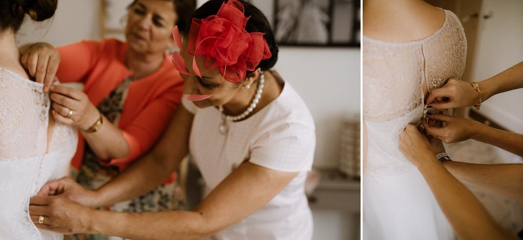 préparatifs mariée boutons robe mère famille
