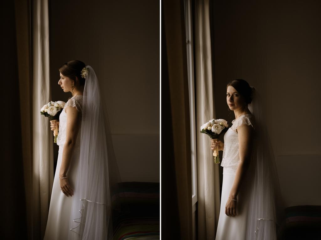 mariée mariage robe fenêtre lumière douce