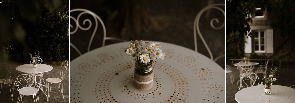 table fer forge fleurs marguerites