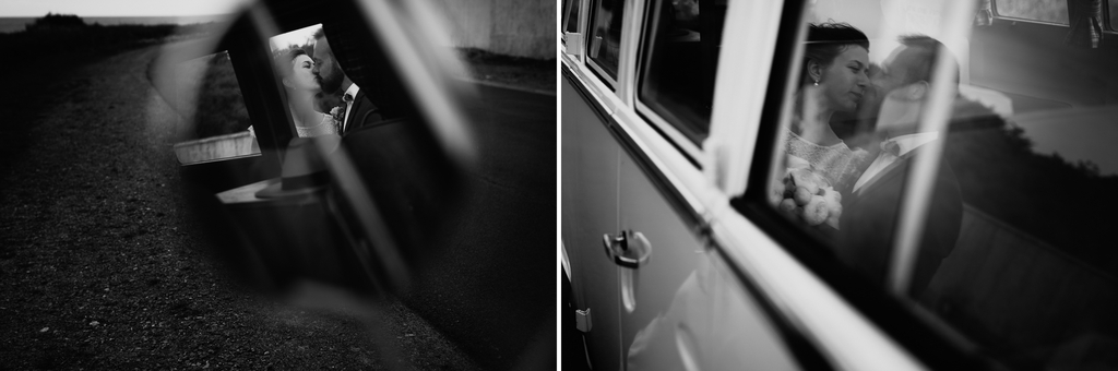 couple s'embrasse van volkswagen noir et blanc reflets