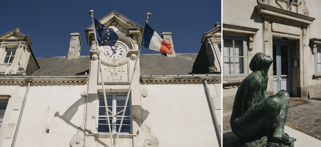Noirmoutier mairie statue ciel bleu mariage