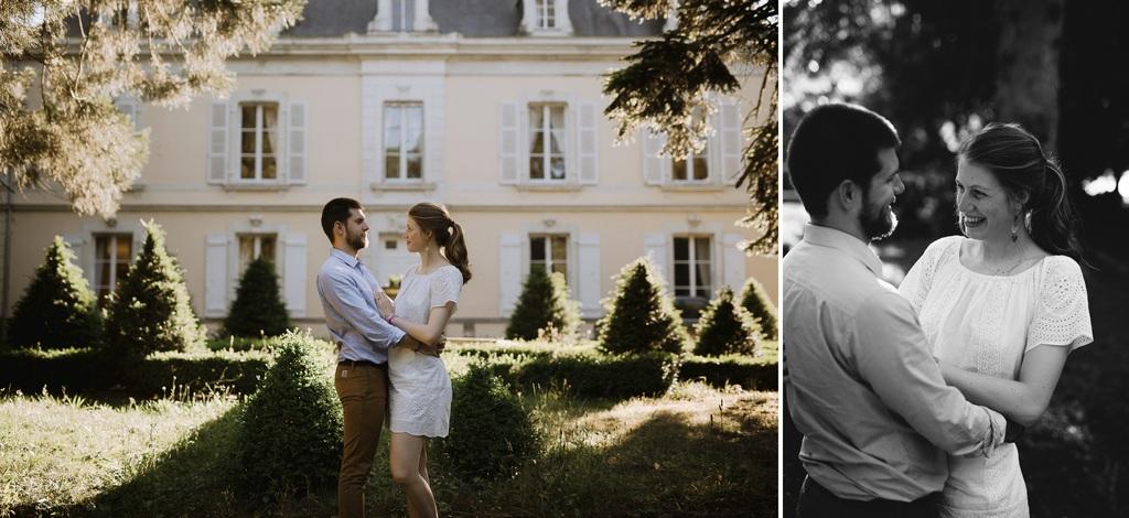 chateau Mayenne couple soleil parc