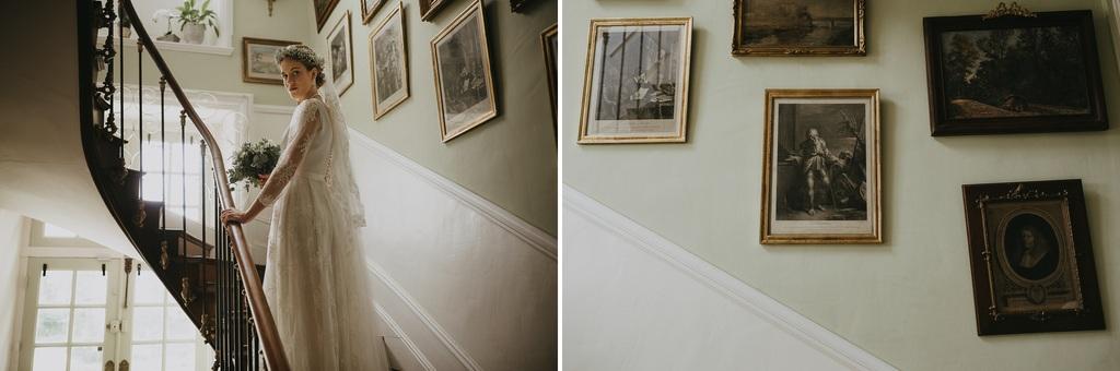 escalier cadre mariée lumière