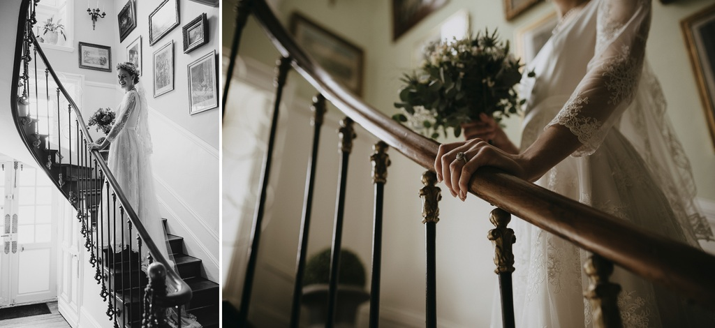 escalier rambarde mariée main bouquet mariage Mayenne