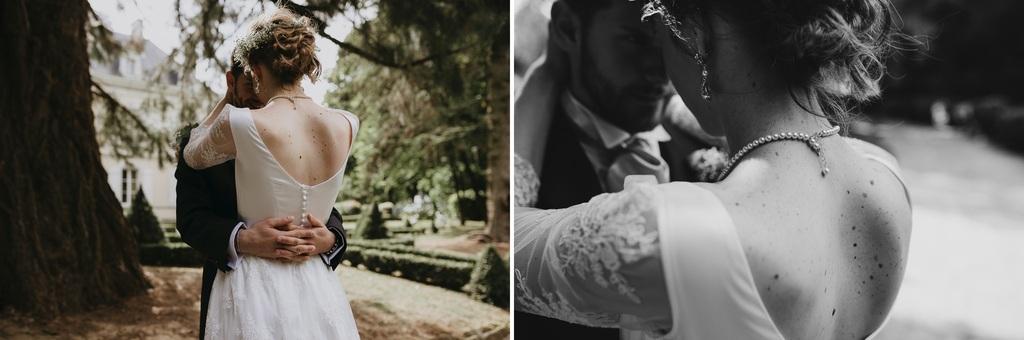 mariage Mayenne robe mariée détails boutons collier