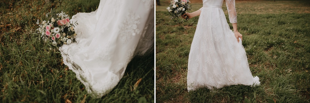 robe mariée herbe bouquet