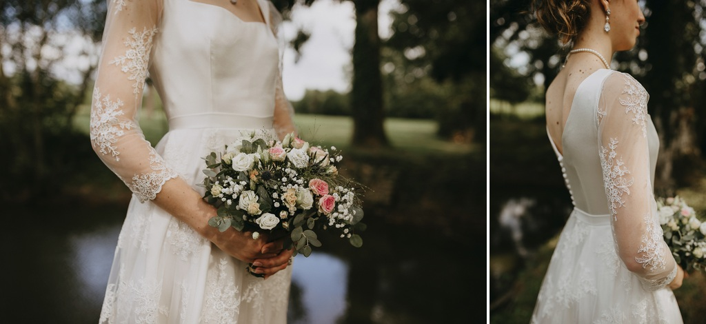 mariage Mayenne bouquet robe détail dentelle étang dos