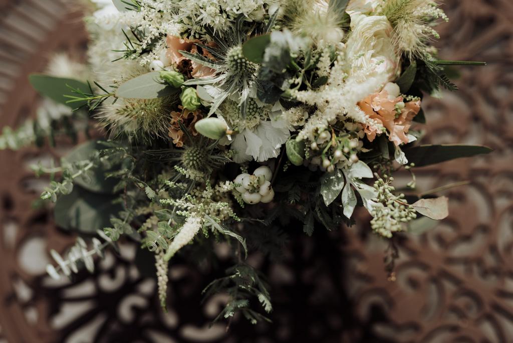 bouquet mariée table fer forgé