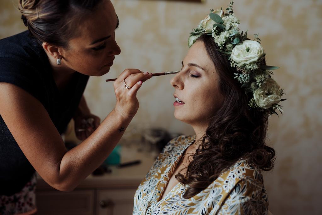 mariage Vendée Sébrandière maquillage mariée pinceau couronne