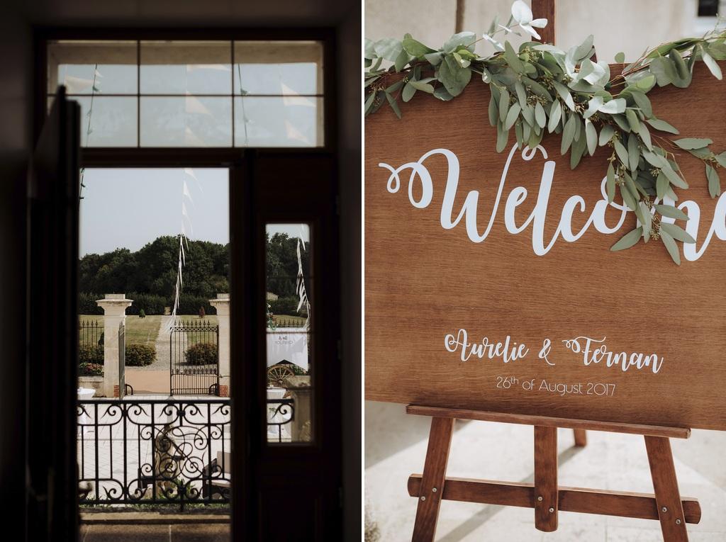 panneau bienvenue mariage porte château parc