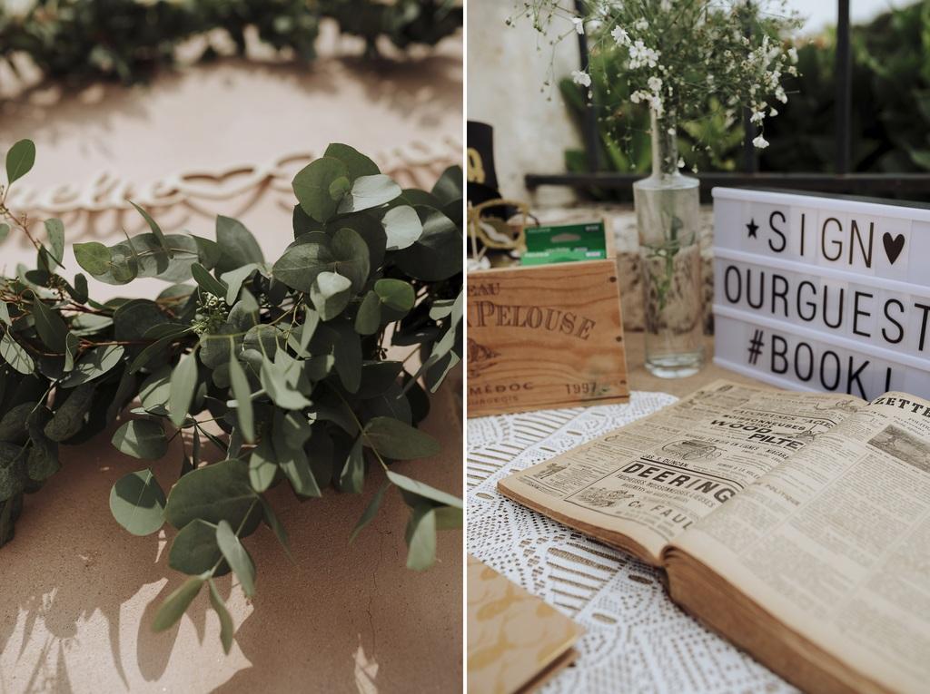 décoration mariage vieux livres couronne plantes