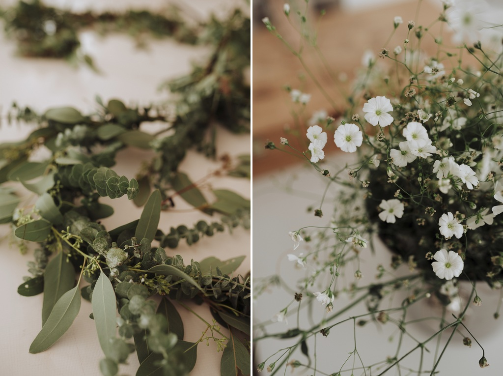 couronnes plantes fleurs blanches