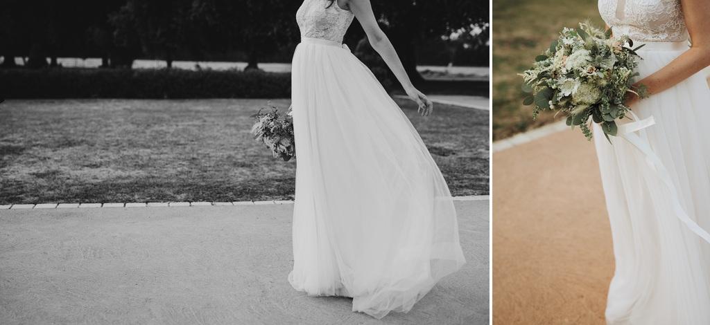 robe mariée vent bouquet détails