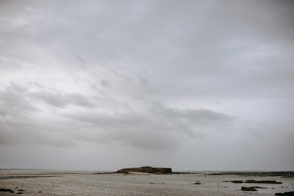 côte Morbihan Pointe du Bile nuages rochers mer