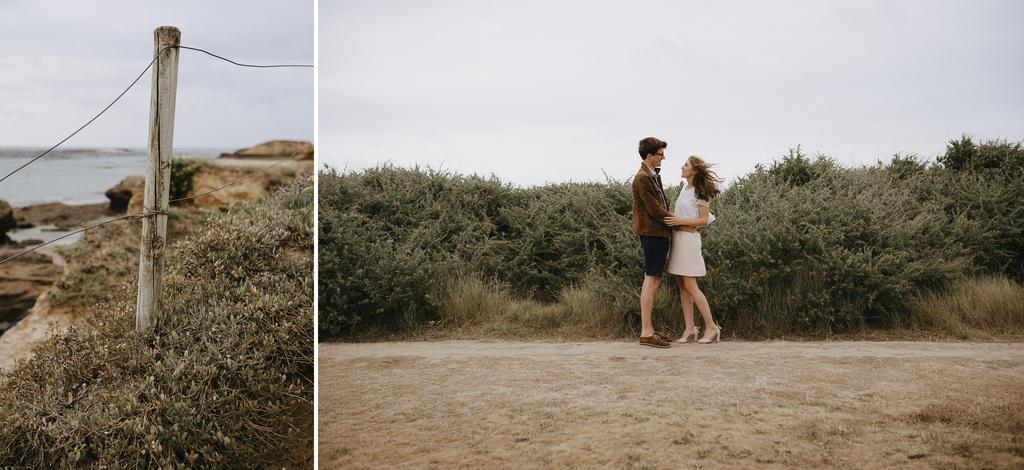 couple séance engagement Morbihan côte rochers Bile