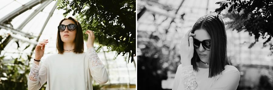 lunettes soleil portrait serre végétaux recoiffer modèle