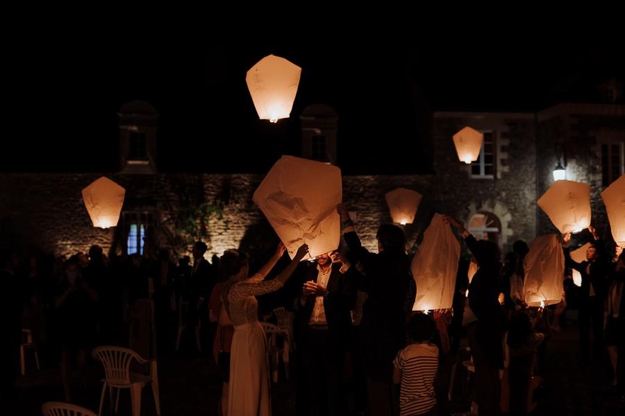 lâcher lanternes chinoises mariage Kerougas