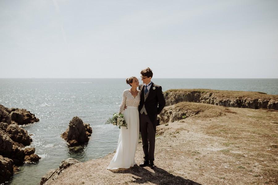 séance couple côte Le Pouliguen rochers soleil mer
