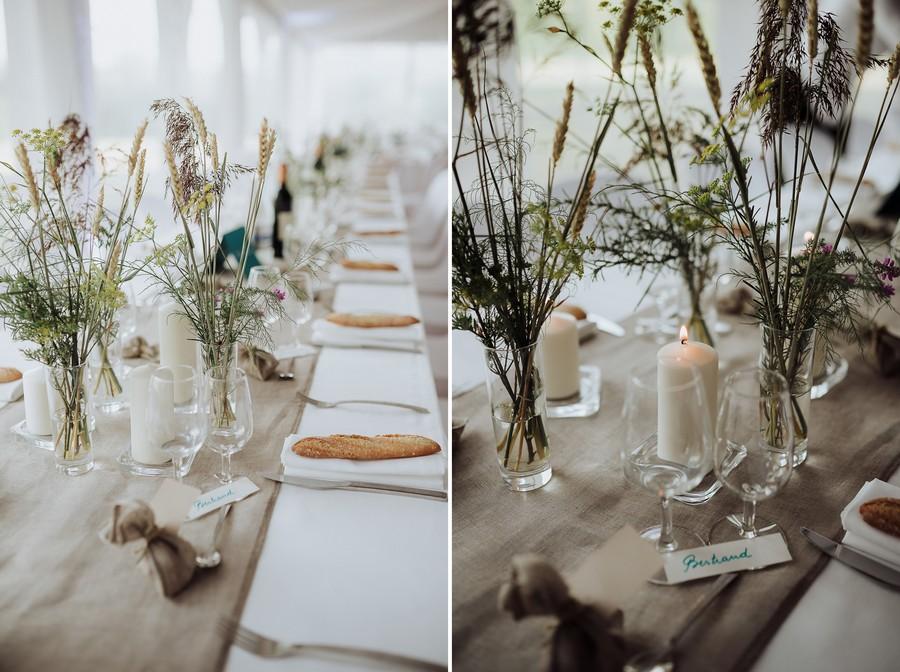 décoration tables dîner mariage fleurs