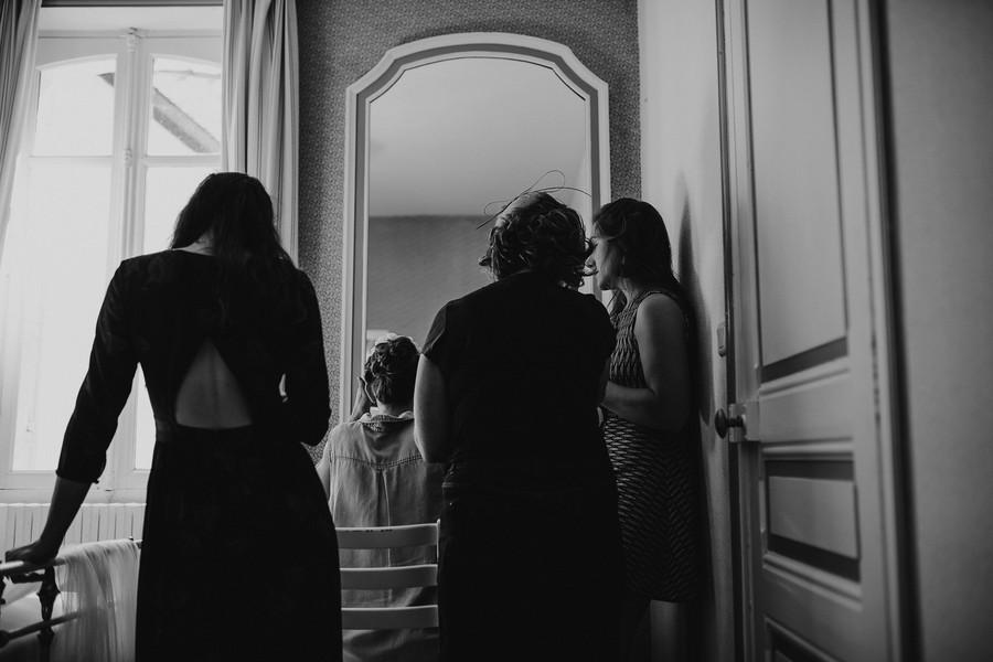témoins mariée miroir noir et blanc préparatifs