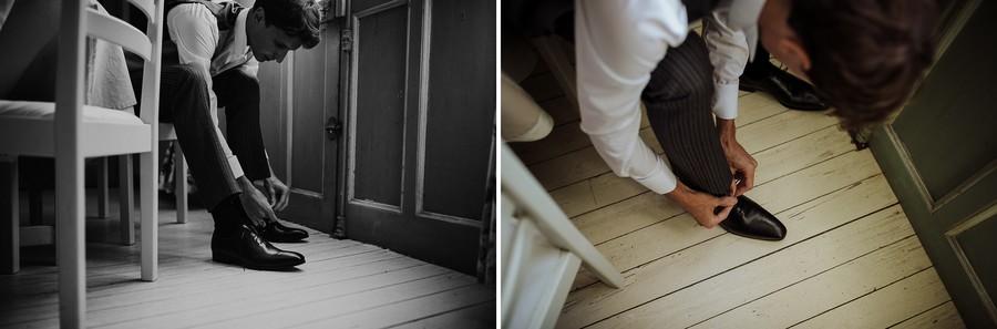 lacets chaussures marié porte chaise