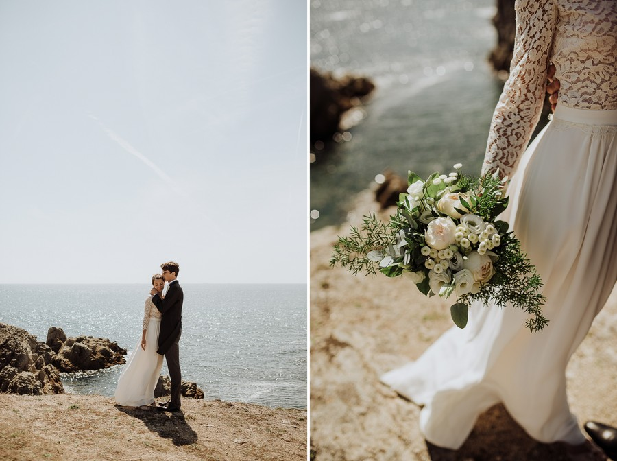couple mer côte soleil Pouliguen bouquet mariée