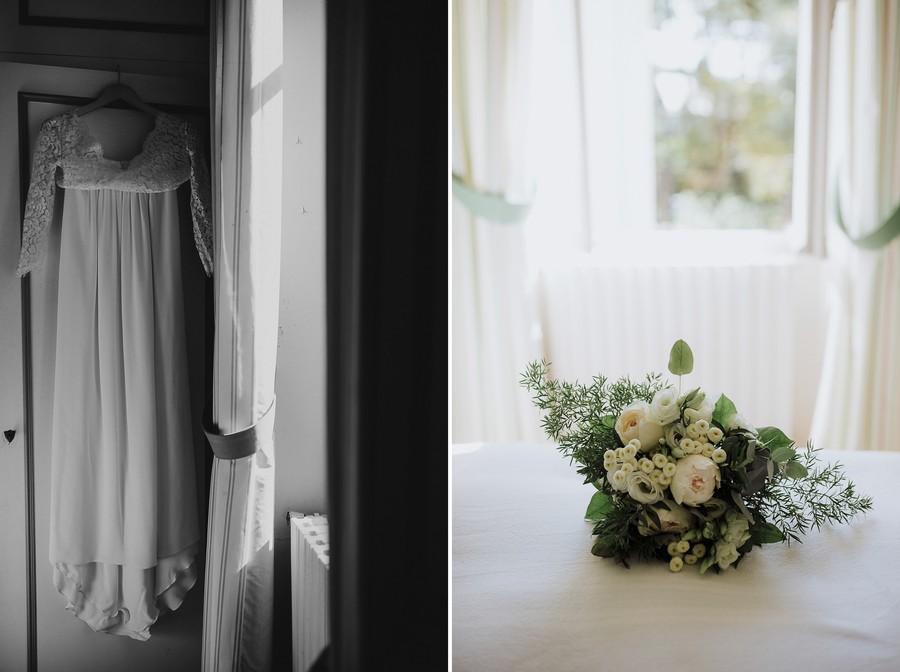 robe mariée noir et blanc bouquet lumière fenêtre
