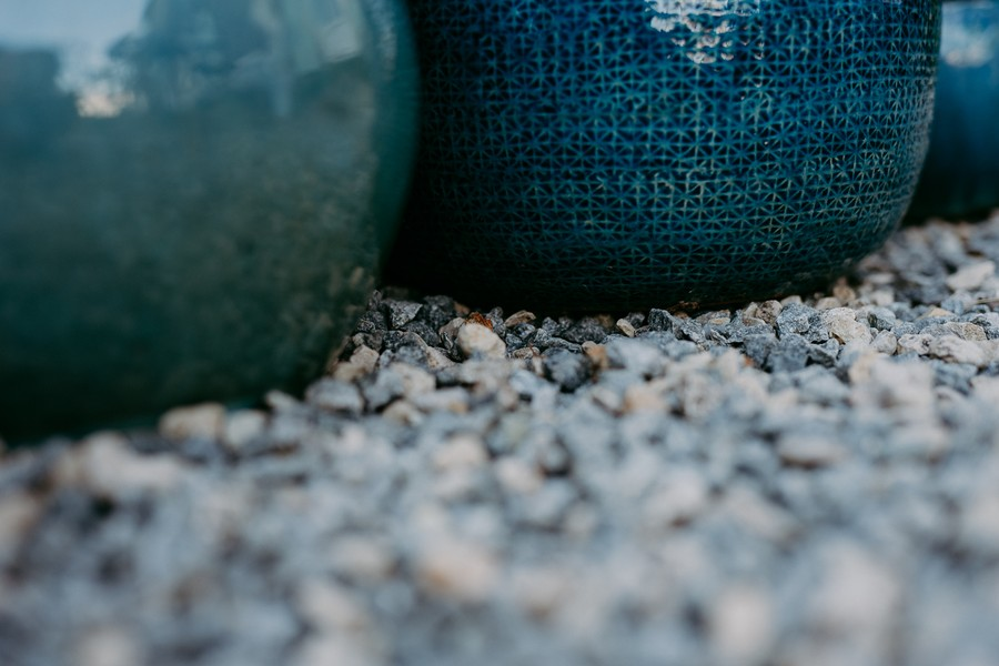 pots bleus émaillés gravier bleu défi coronavirus confinement covid-19