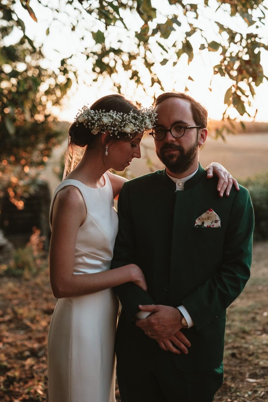 mariage champêtre séance couple contre-jour