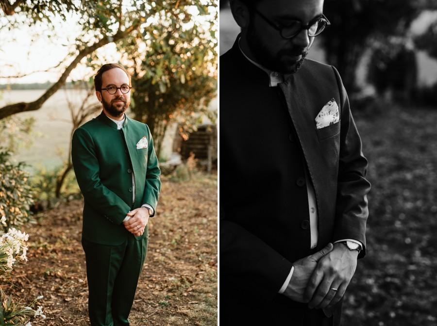 marié séance photo détails costume pochette