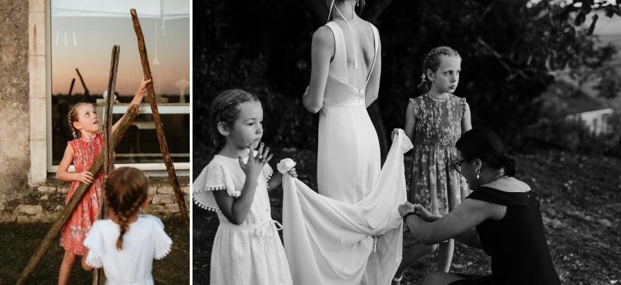enfants jouent branches mariage retouche robe mariée