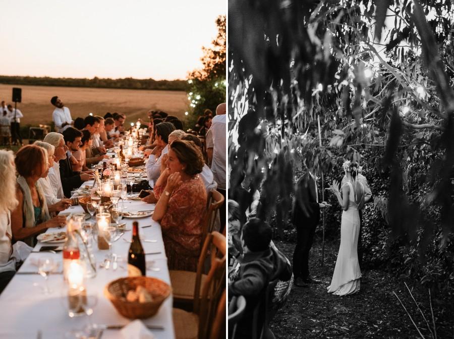 réception dîner mariage extérieur soleil couchant arbres