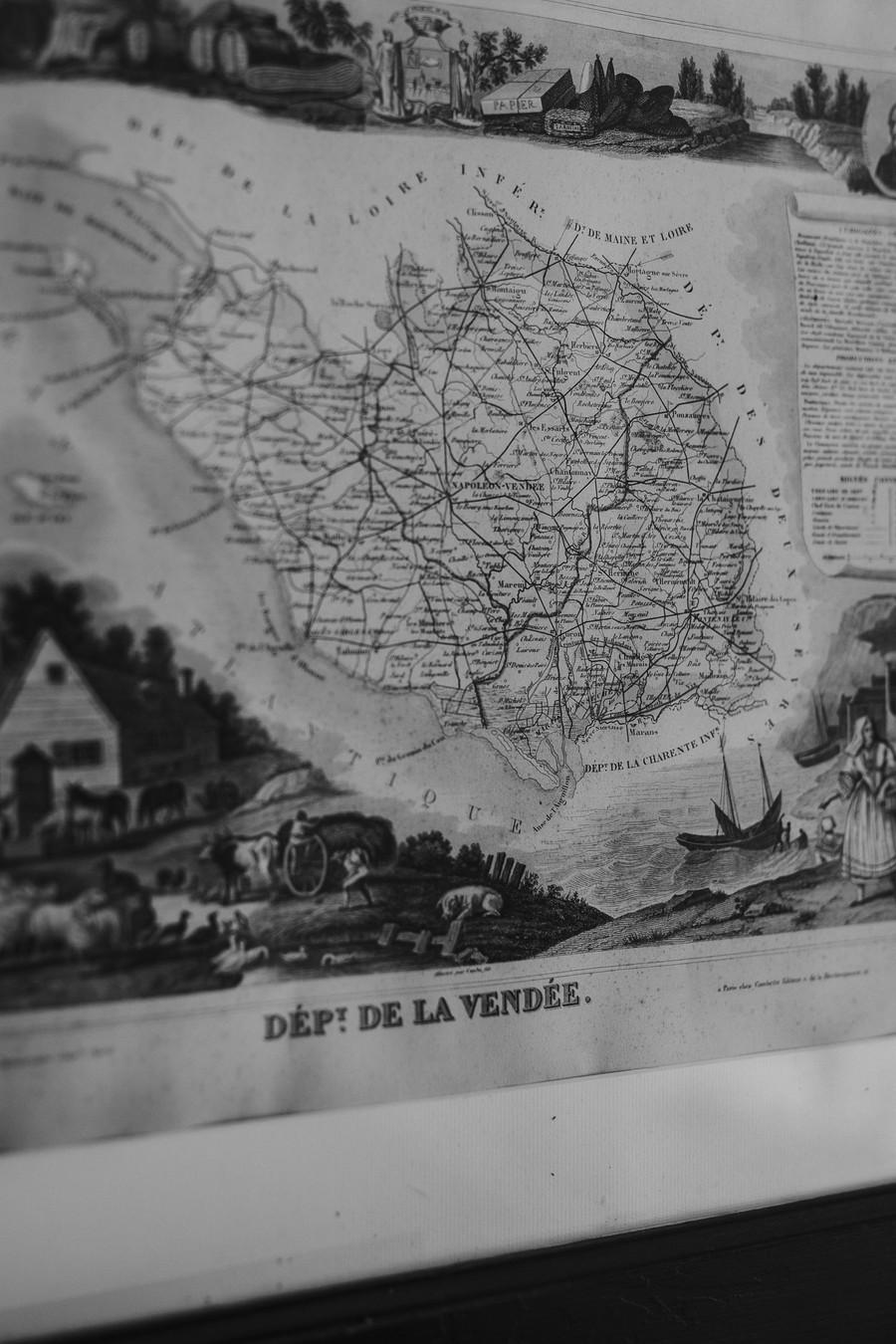 carte ancienne Vendée noir et blanc