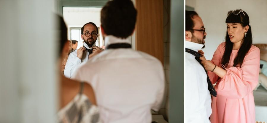 préparatifs habillage marié chemise cravate noeud