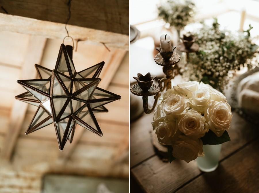suspension étoile luminaire bouquet roses bougeoir