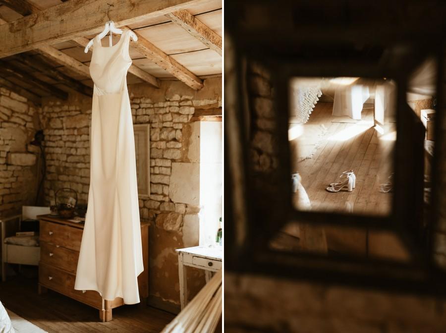 robe de mariée chaussures miroir parquet
