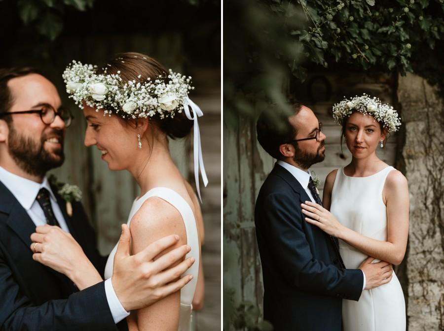 couronne fleurs mariée regard séance intime