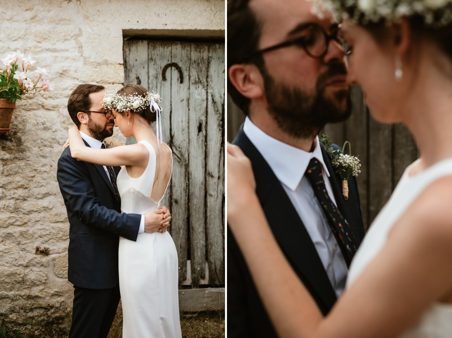 pose intime couple mariés boutonnière gypsophile