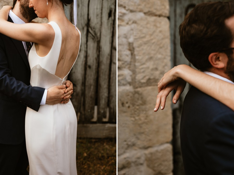 mains mariés séance couple robe mariée