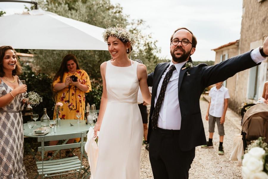 arrivée mariés cocktail sourire joie