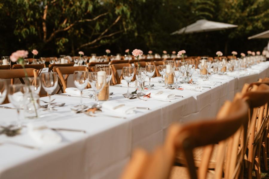 tables dîner mariage jardin extérieur guinguette