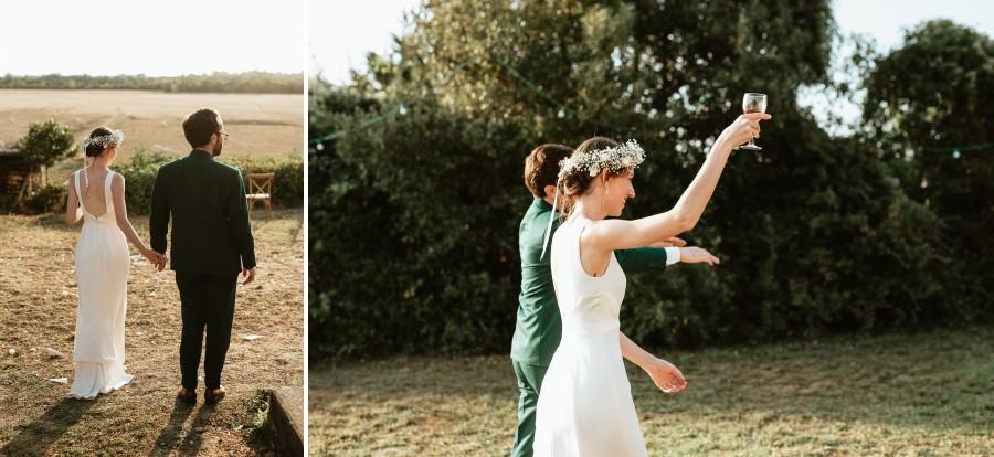 arrivée mariés réception jardin extérieur mariage